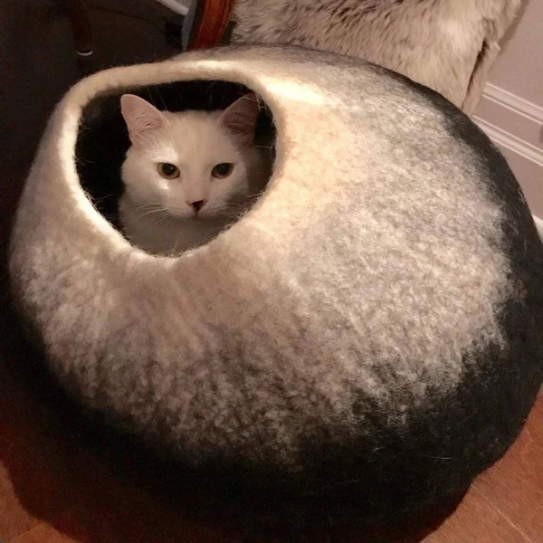 Cat Cave Co Luxury Felted Wool Hand Made Cat Beds Cat