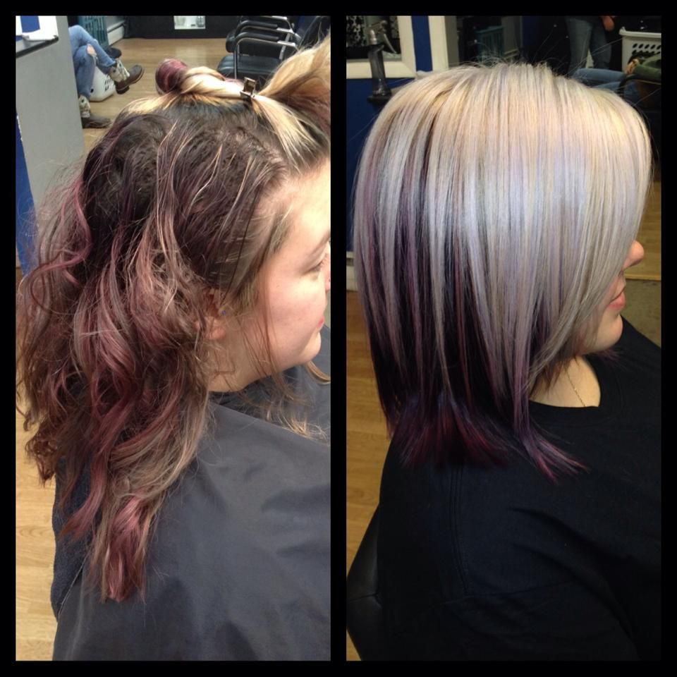 Goldwell Purple Underneath And Platinum Ice Blonde On Top