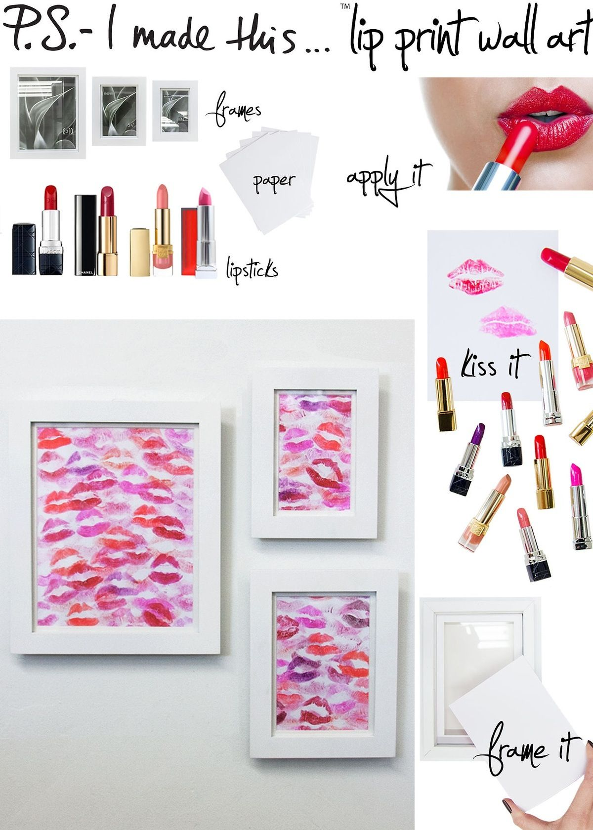 Diy Lip Print Wall Art With Lipsticks In Any Redish