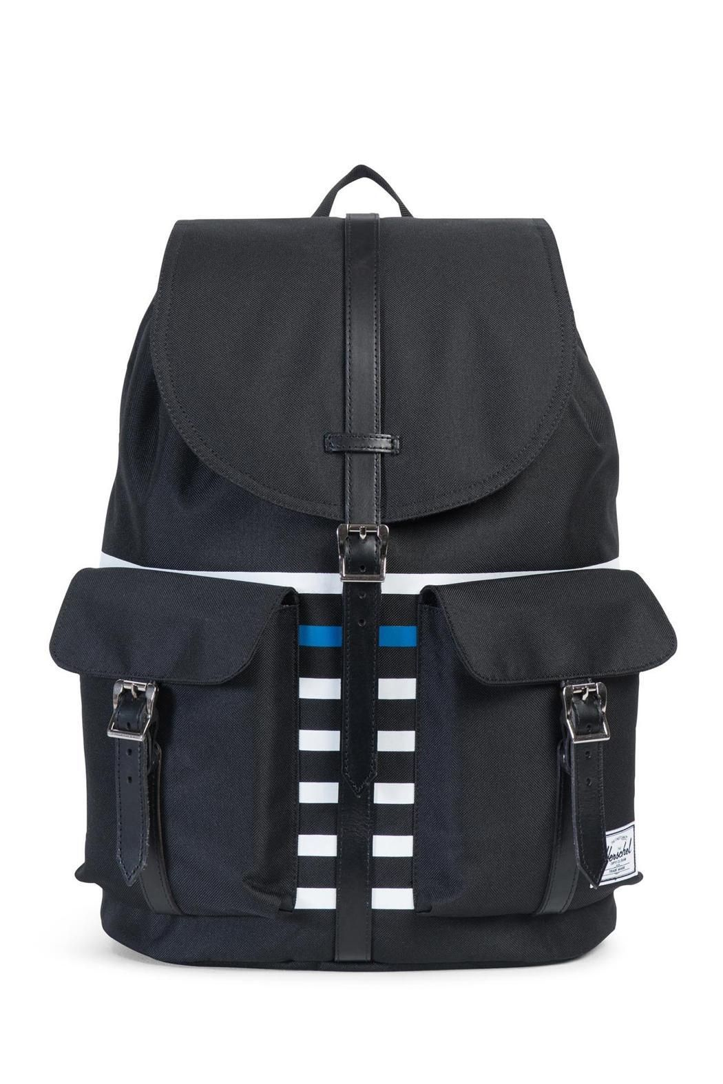 Sac à dos Herschel Heritage Offset Black Offset Stripe/Black Veggie Tan Leather noir WrCcNXd