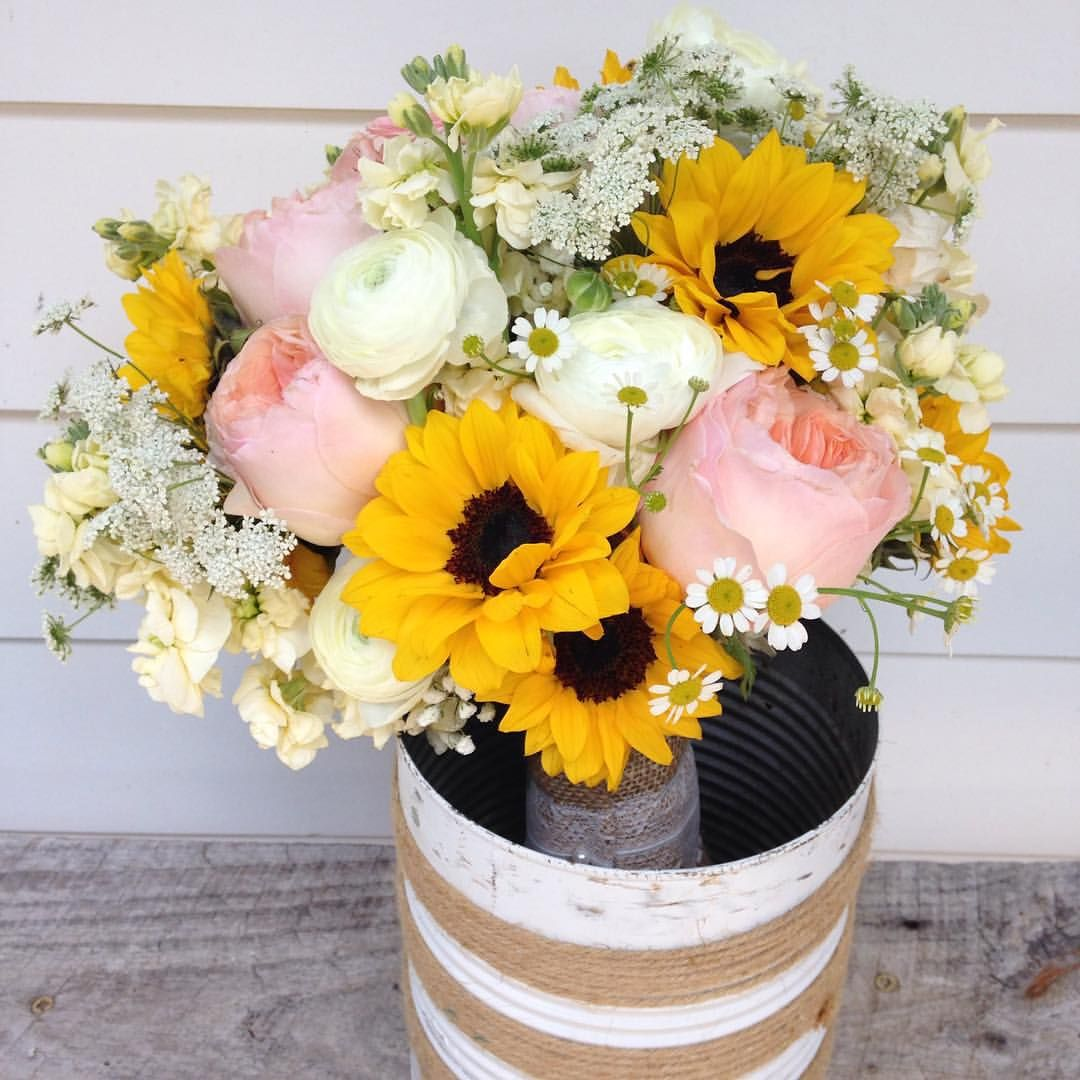 Bright and Happy Summer Bouquet with Sunflowers, Pink