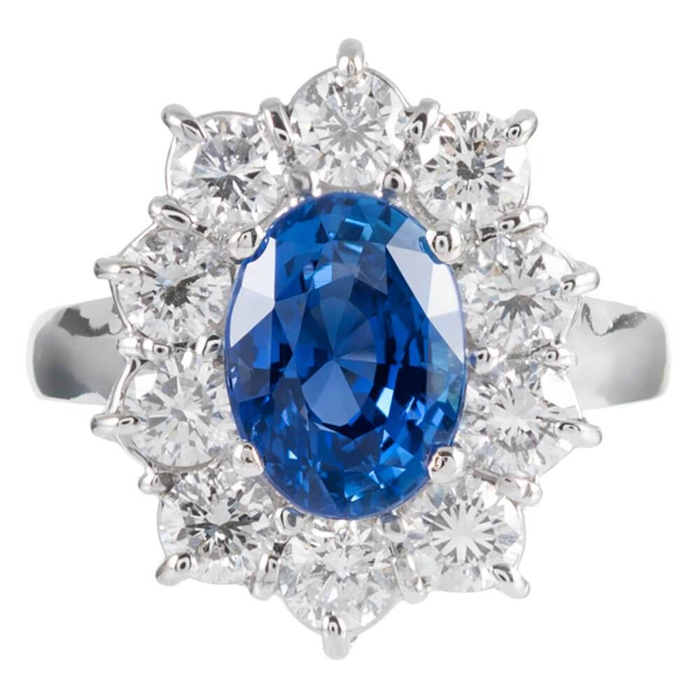 Sri Lanka No Heat 3 85 Carat Sapphire Diamond Cluster Ring Fourtane In 2020 Diamond Cluster Ring Diamond Rings With Price Victorian Gold Ring