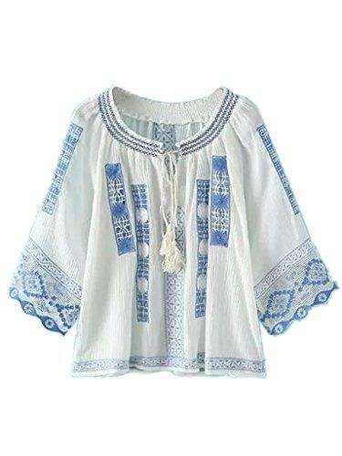 edc69e5713 Joeoy Women's Bohemian Embroidered 3/4 Sleeve Peasant Blouse Shirt White-L  Joeoy http