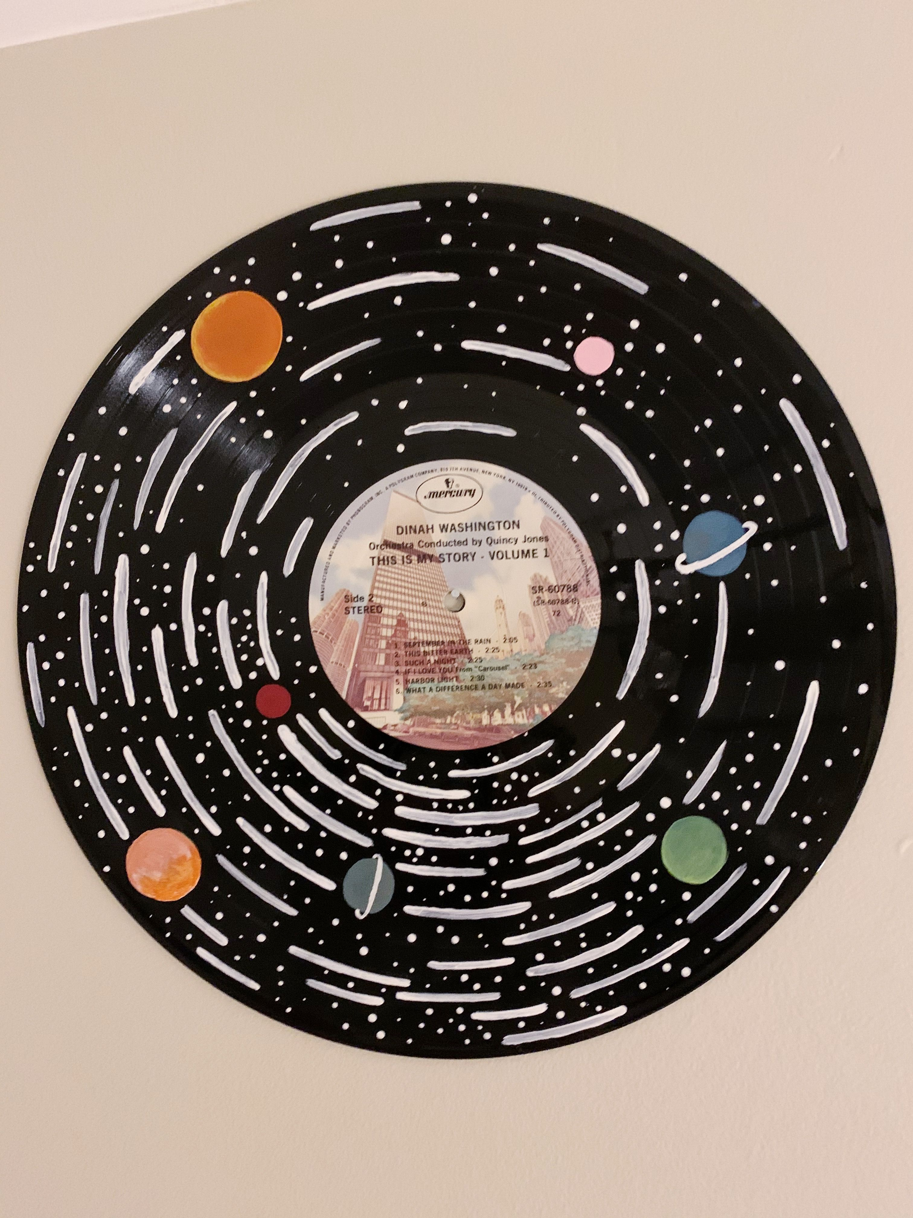Diy Painted Record In 2020 Vinyl Record Art Solar System Painting Record Wall Art