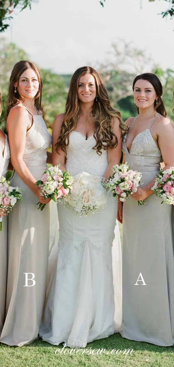 Grey Lace Chiffon Spaghetti Strap Mismatched Long Bridesmaid Dresses , CB0016 #lacechiffon
