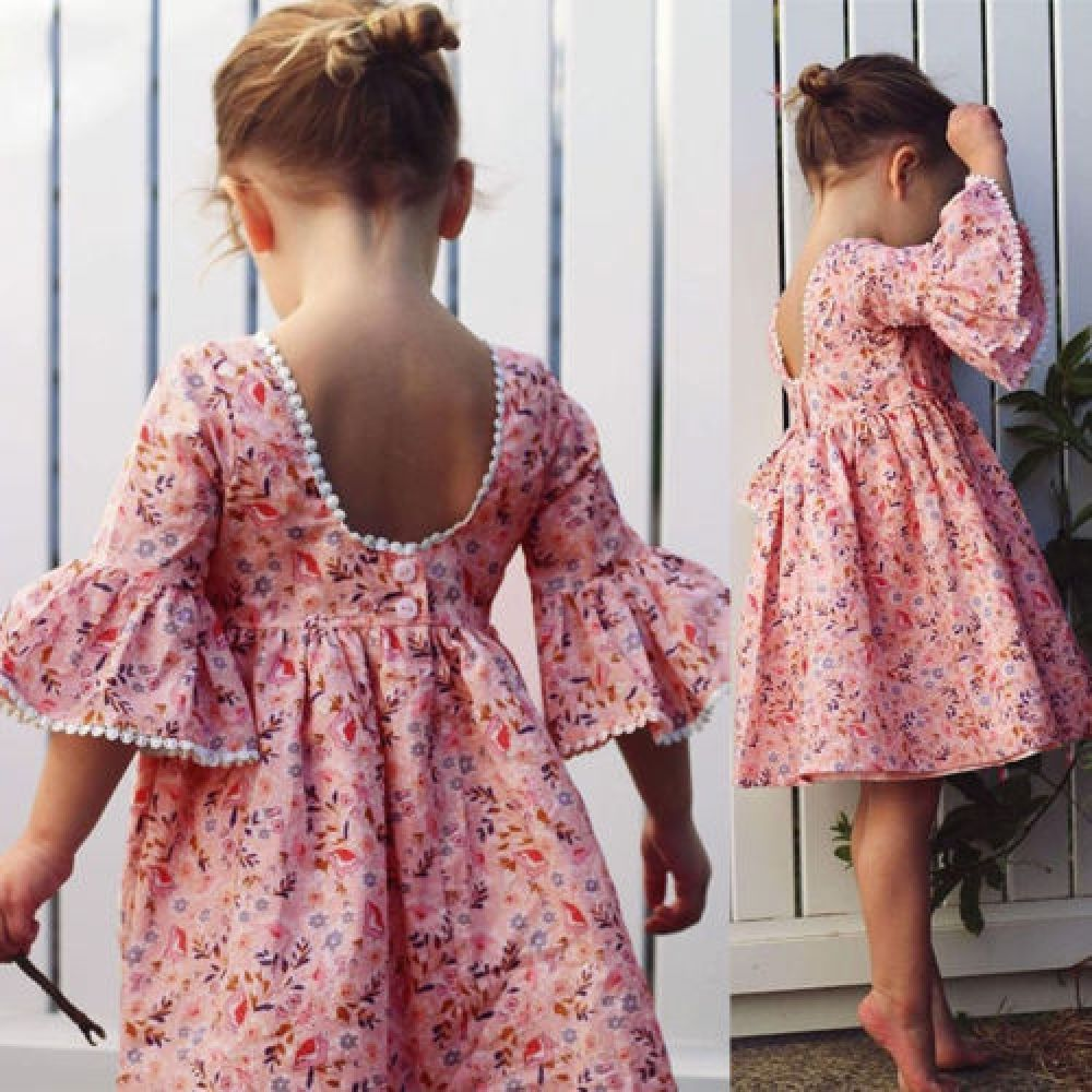 Kid Baby Girl Long Sleeve Floral Party Dress  Dresses kids girl