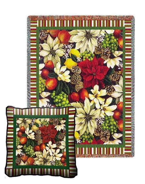 Magnolia Poinsettia Tapestry Pillow And Throw Set