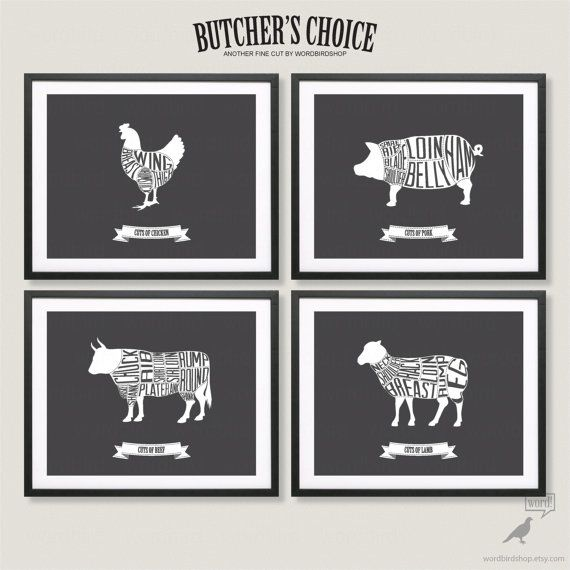 Butcher Charts Rustic Kitchen Decor Bacon Print Kitchen Wall Art