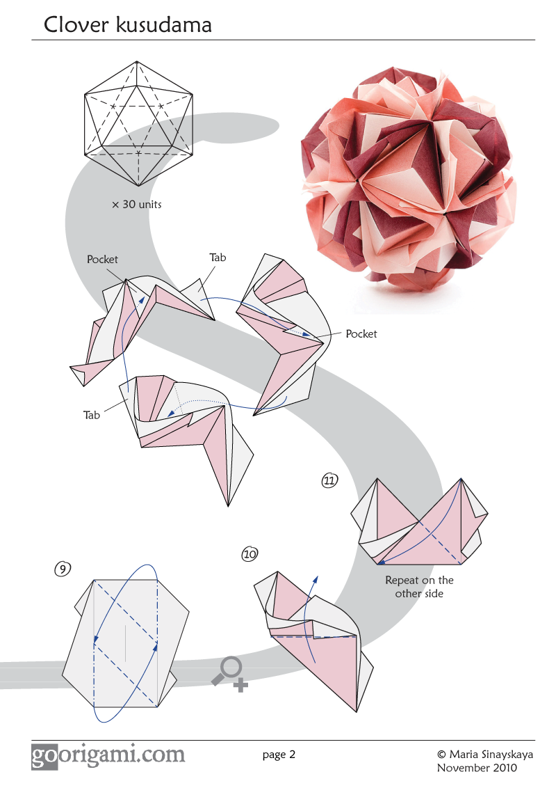 origami clover kusudama this is part 2 of the diagram part 1 is on rh pinterest com Complex Origami Diagrams Origami Star Diagram