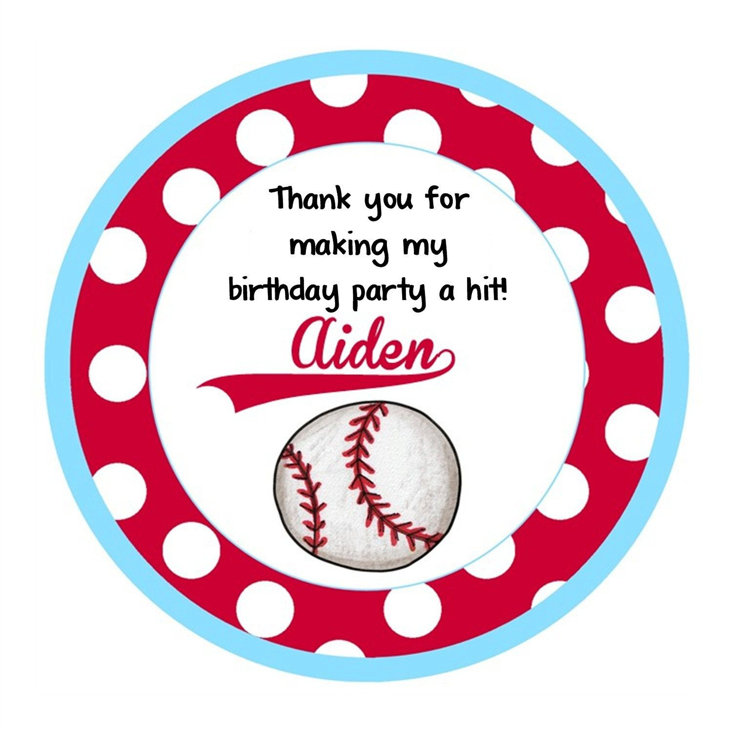 Baseball Round Labels Stickers for party favors, gift tags, or address labels. $4.80, via Etsy.