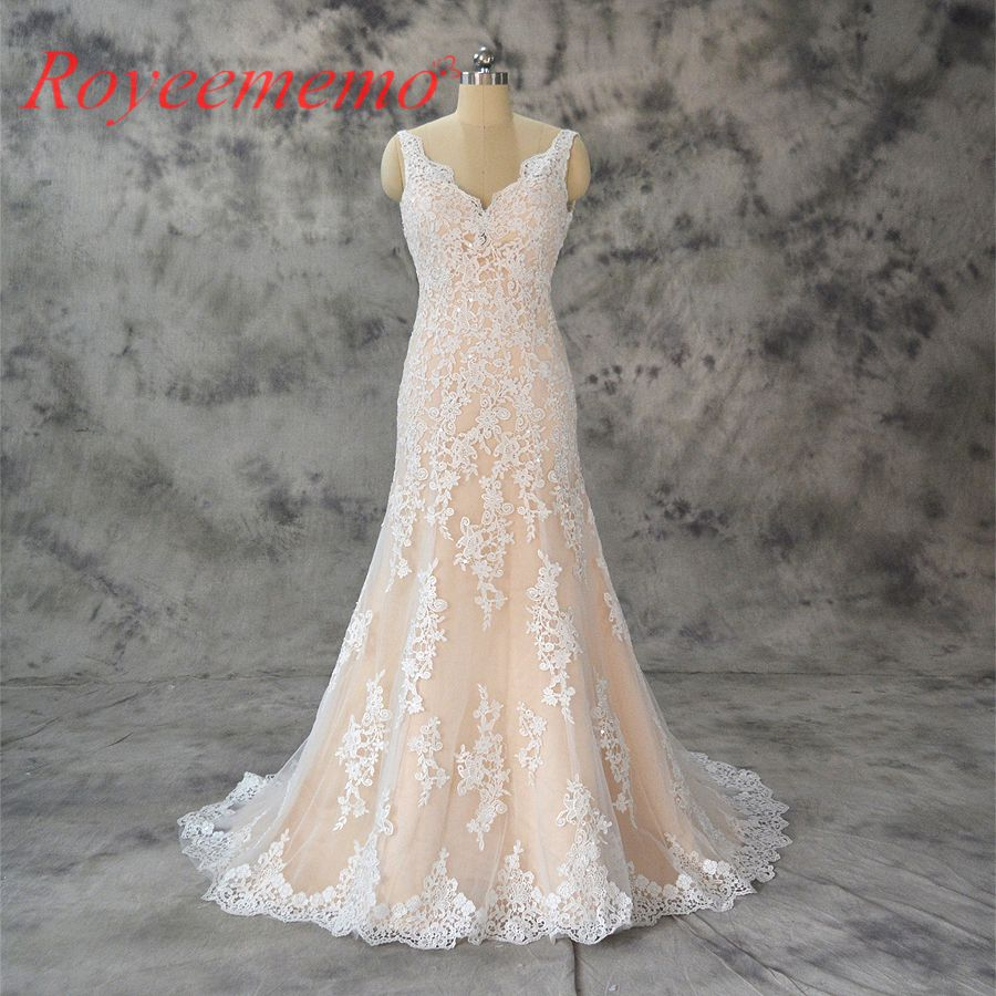 Champagne and ivory wedding dress   new design champagne and ivory wedding dress top brand wedding