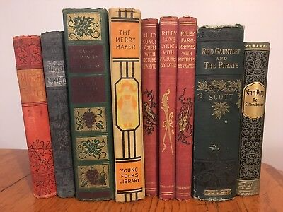 Vtg Antique Lot Book Prop Display W Fancy Decorative Gold Gilt Spines 40 95 Book Spine Beautiful Cover Antiques