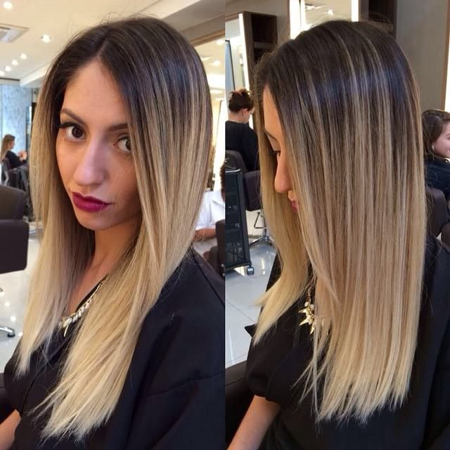 Long Straight Hair With Front Layers And Textured Ends On Blonde Ombre Colored Hair The Latest Hairstyles For Men And Women 2020 Hairstyleology Straight Hairstyles Long Straight Hair Ombre Hair