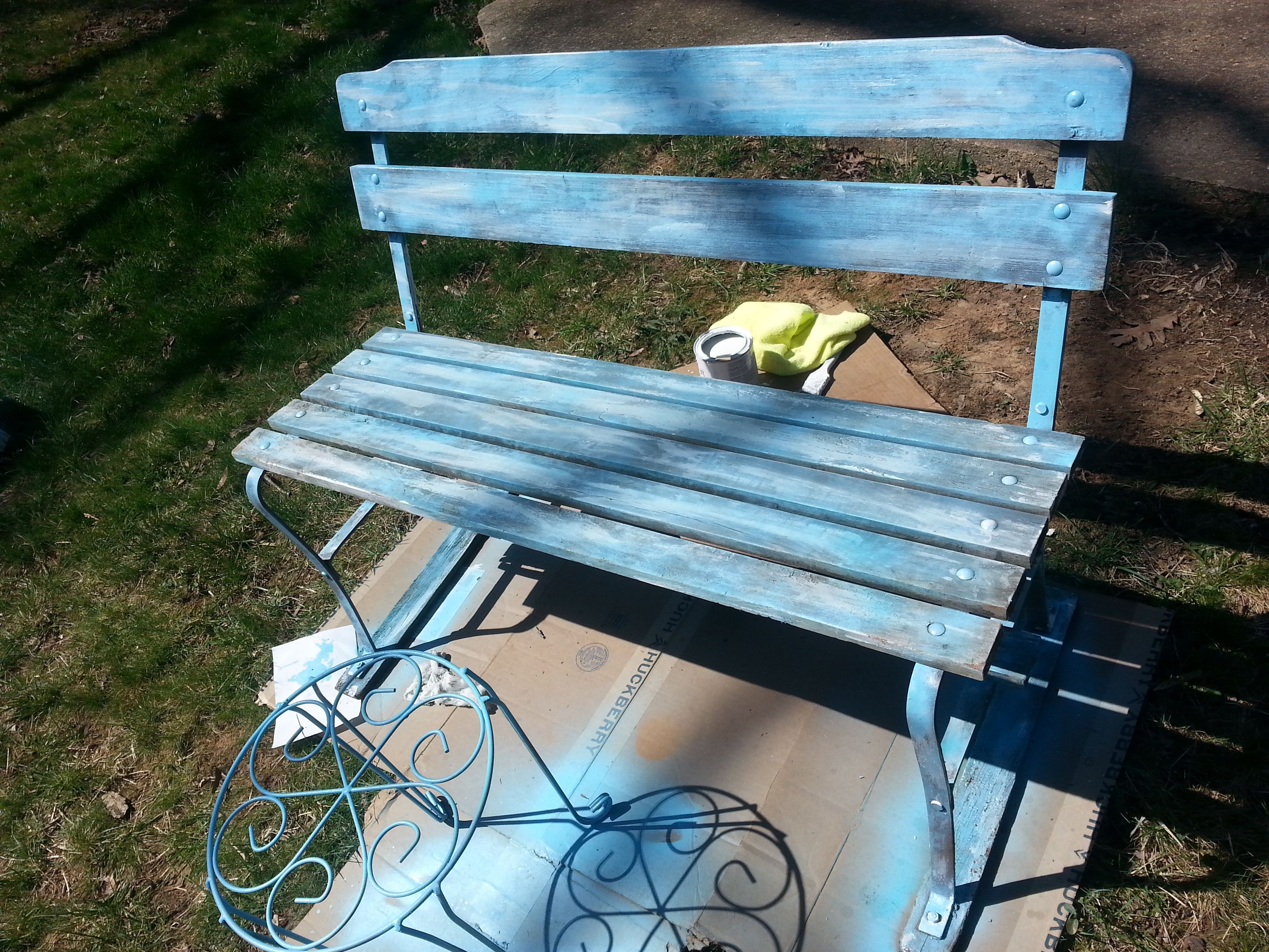 diy painted bench blue and white spray paint countrustical rh pinterest cl
