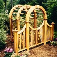 Massive 6X6 Wooden Garden Arbor with extended arch, spindle gate and wings. All made out of Western Red Cedar.