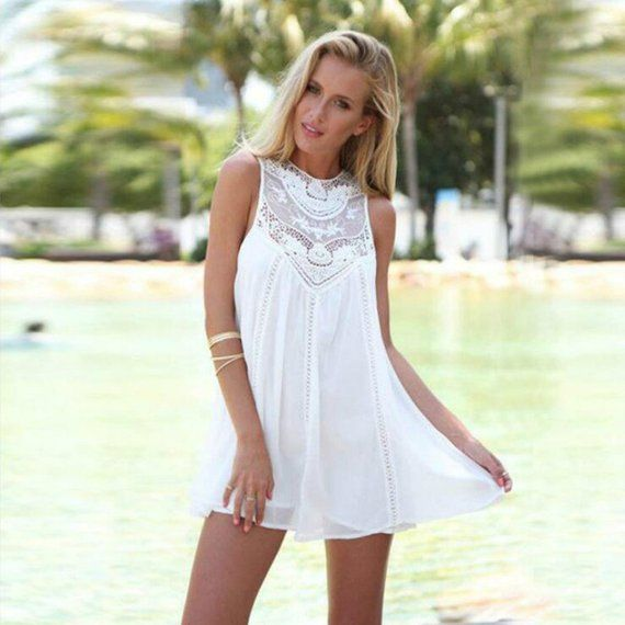 d5745b41a6ba1d Summer Dresses 2018 -Summer White Lace Mini Party Dresses /Sexy Club Casual  Vintage Beach Sun Dress
