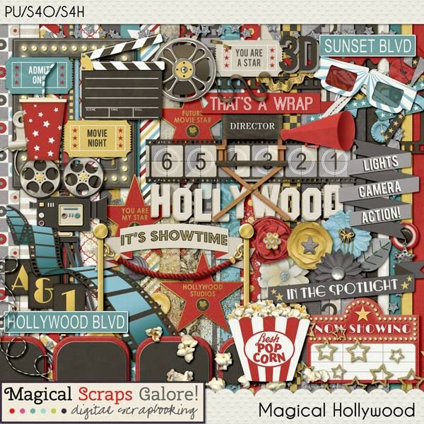 Magical Hollywood Digital Scrapbook Kit By Magical Scraps Galore Available At Gingerscraps And Scraps N Pie Disney Scrapbook Magical Hollywood Studios Disney