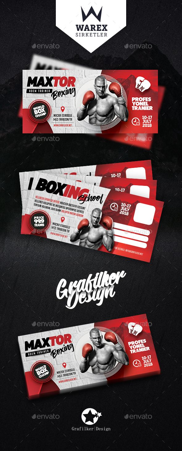 Boxing School Postcard Template PSD, InDesign INDD | Layout ...
