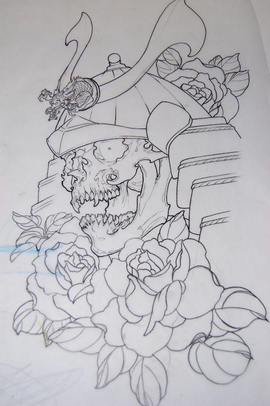 Outline Rose Flowers And Samurai Tattoo Design With Images