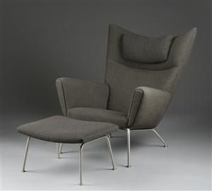 hans j wegner wing chair model ch 455 with