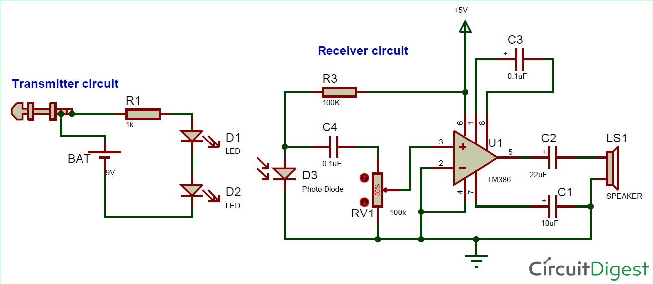 Fantastic Circuit Diagram For Ir Based Audio Transmitter And Receiver Circuit Wiring Digital Resources Funapmognl
