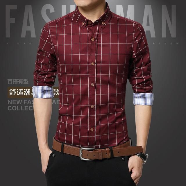 1165d33197b Long Sleeve Dress Shirt-Men s Casual Shirt Size M-5XL