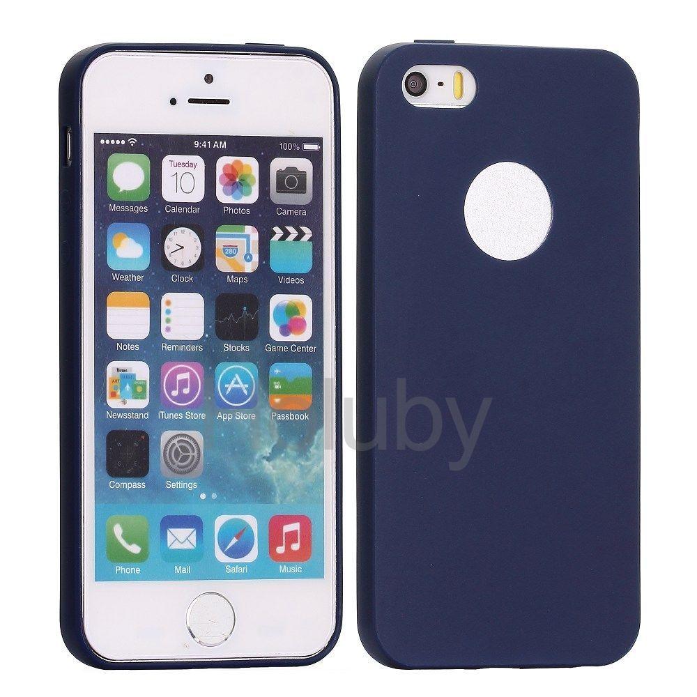 Flexible Silikonhülle für iPhone 5S 5 - Dunkelblau