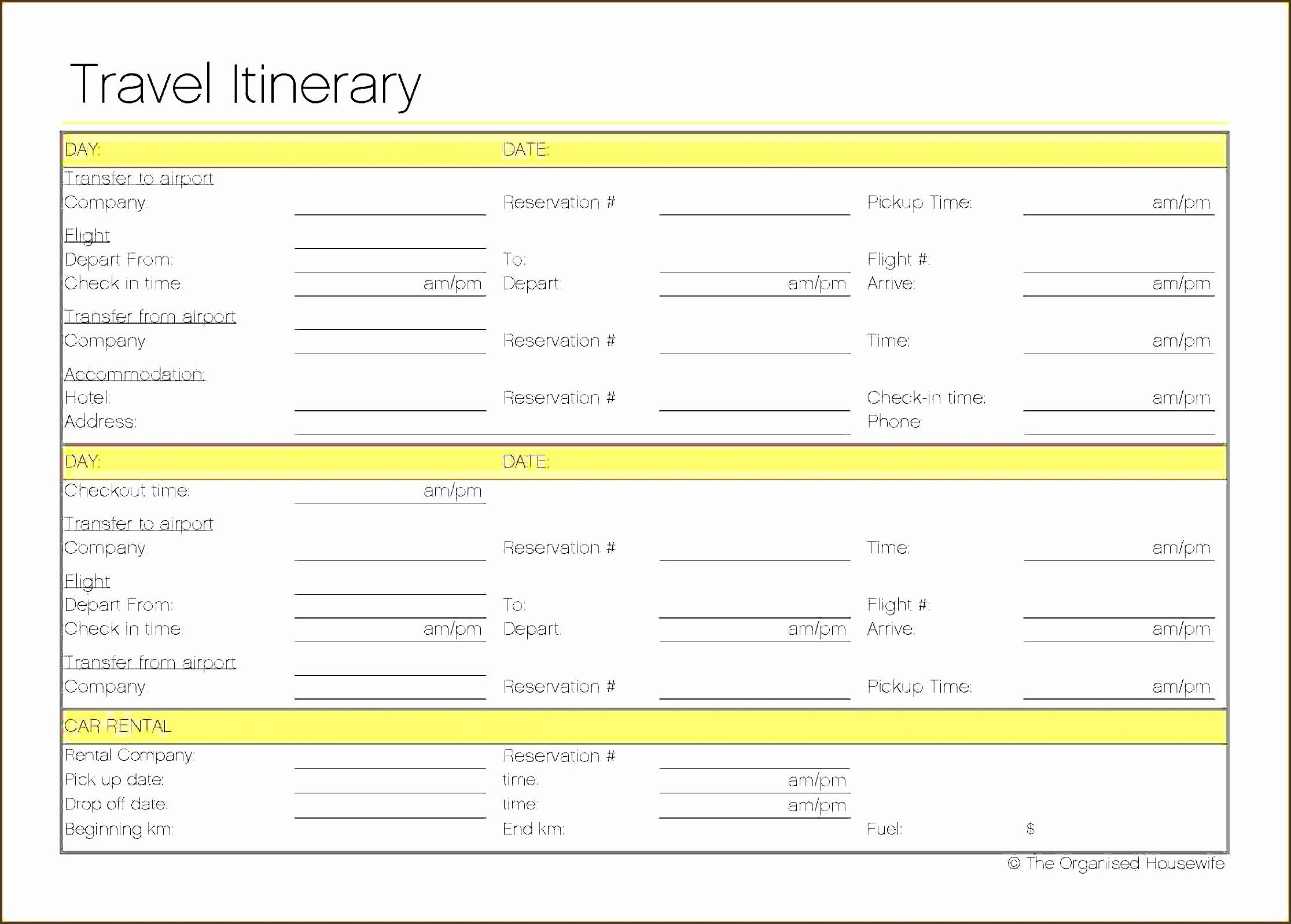 Executive Assistant Travel Itinerary Template Travel Itinerary