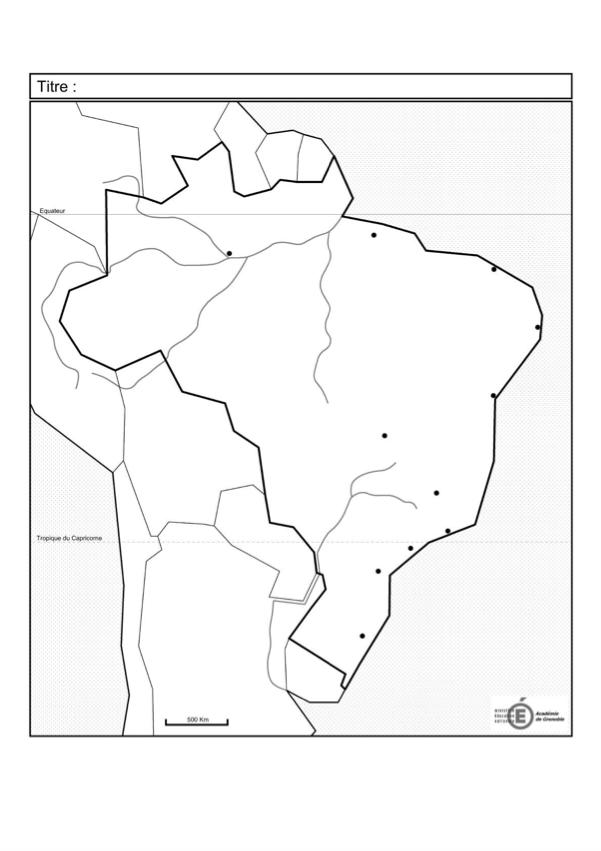 carte brésil vierge bac Fond de carte : Dynamiques territoriales du Brésil   Géographie