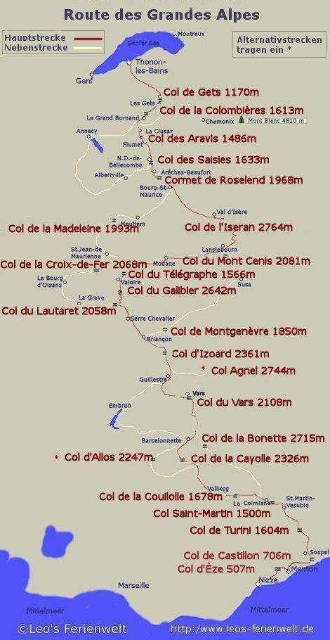 Carte Route Des Grandes Alpes Map Of The Route Of The Great Alps