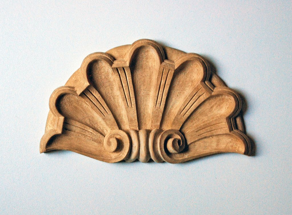 Neoclassical style shell appliqué hand carved wood