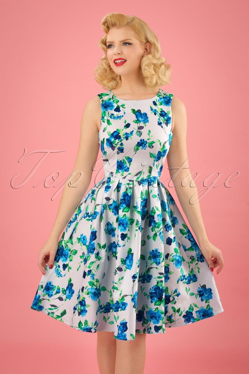 50s Annie Floral Swing Dress in White and Blue | Annie, Swings and ...