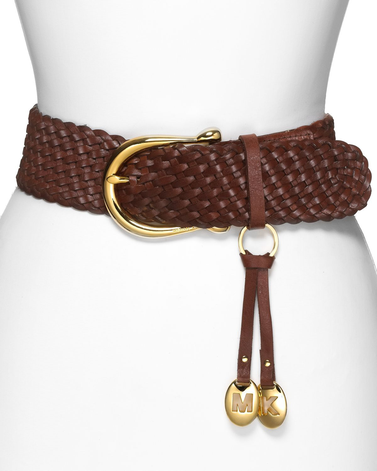 From Michael Michael Kors This Logo Belt Is Finished With A Horseshoe Buckle And A Dangling M And Braided Leather Belt Womens Leather Belt Braided Leather