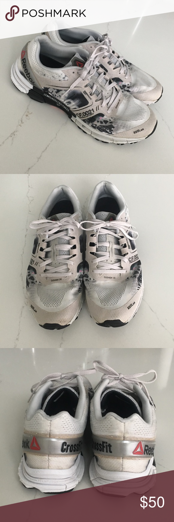 a9e33142e25034 Reebok Men One Cushion 3.0 CrossFit Edition runner This CrossFit edition  Reebok One Cushion 3.0 running shoe in white alloy black s upper is made  with ...