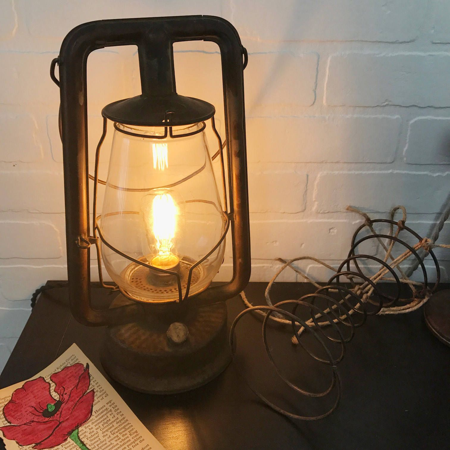 reclaimed lighting. Industrial Lamp - Vintage Lantern Table Reclaimed Accent By HumphreyandMe Lighting