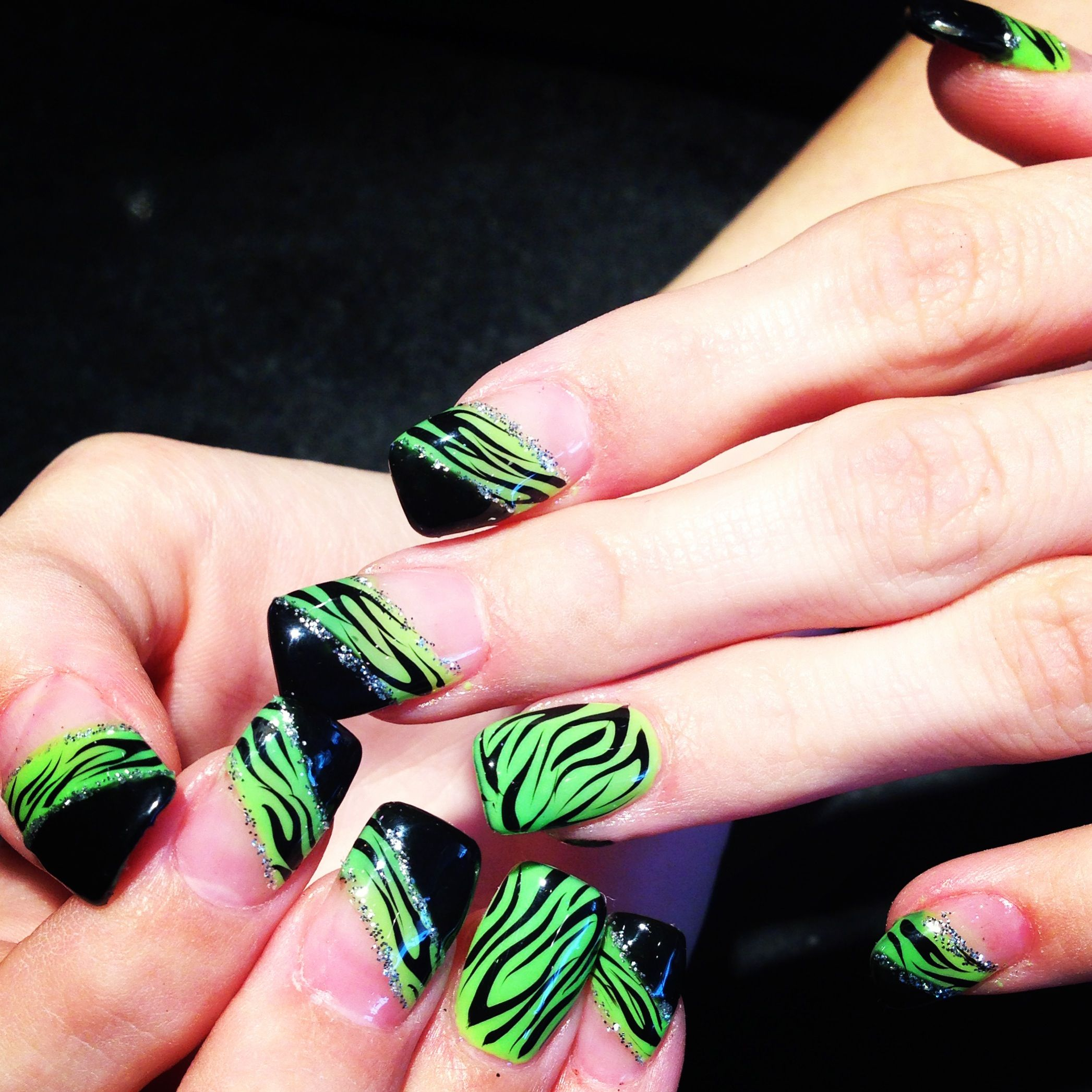 Nail art, cool nail design . Zebra nail design with gel color on ...