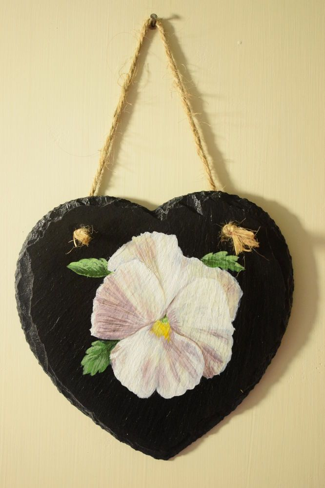 White Pansy Hand Painted Slate Wall Art Decoration, Heart Shaped ...