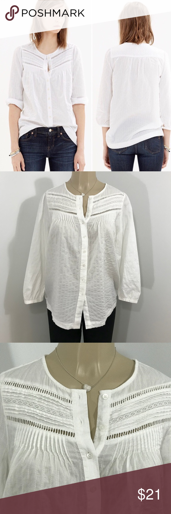 85ab22f195409 MADEWELL Pintuck Eyelet Cotton Button Down Top M This Madewell Pintuck  Eyelet Blouse is so feminine
