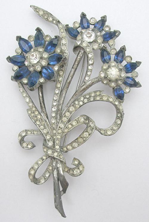 Floral Pot Metal Rhinestone Brooch Pin 1930/'s