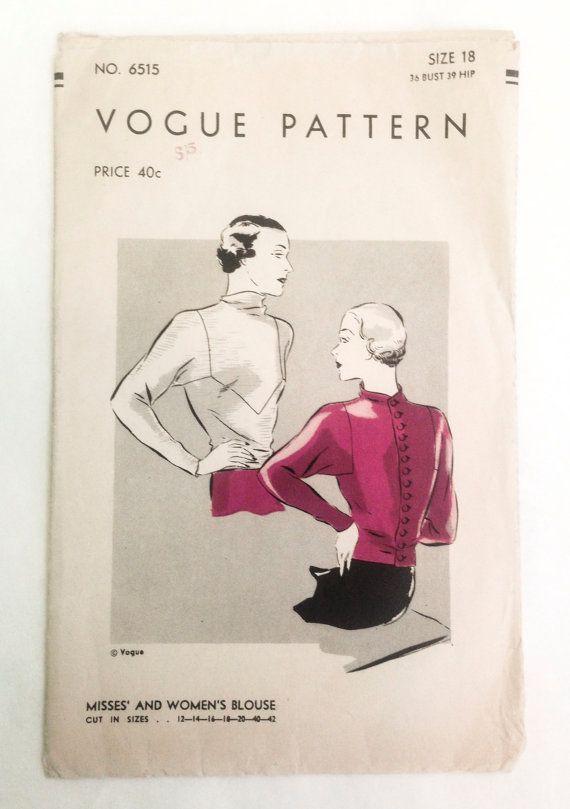 RARE Vintage 30s art deco blouse Vogue Pattern by RosebudPatterns ...