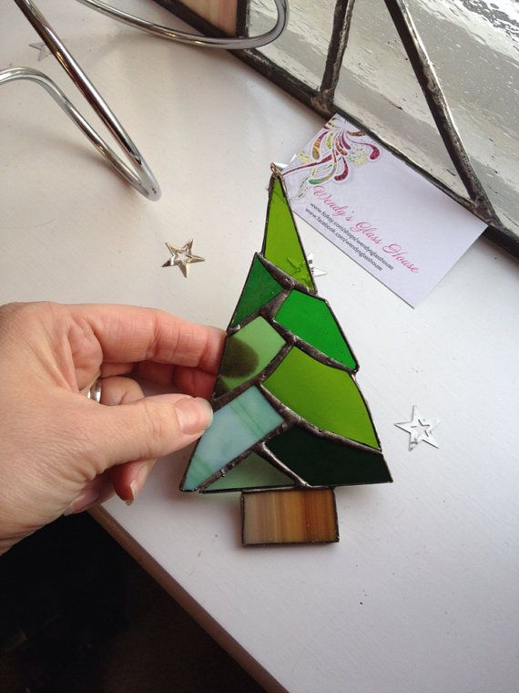 Stained glass Christmas Tree stained glass ornaments Pinterest