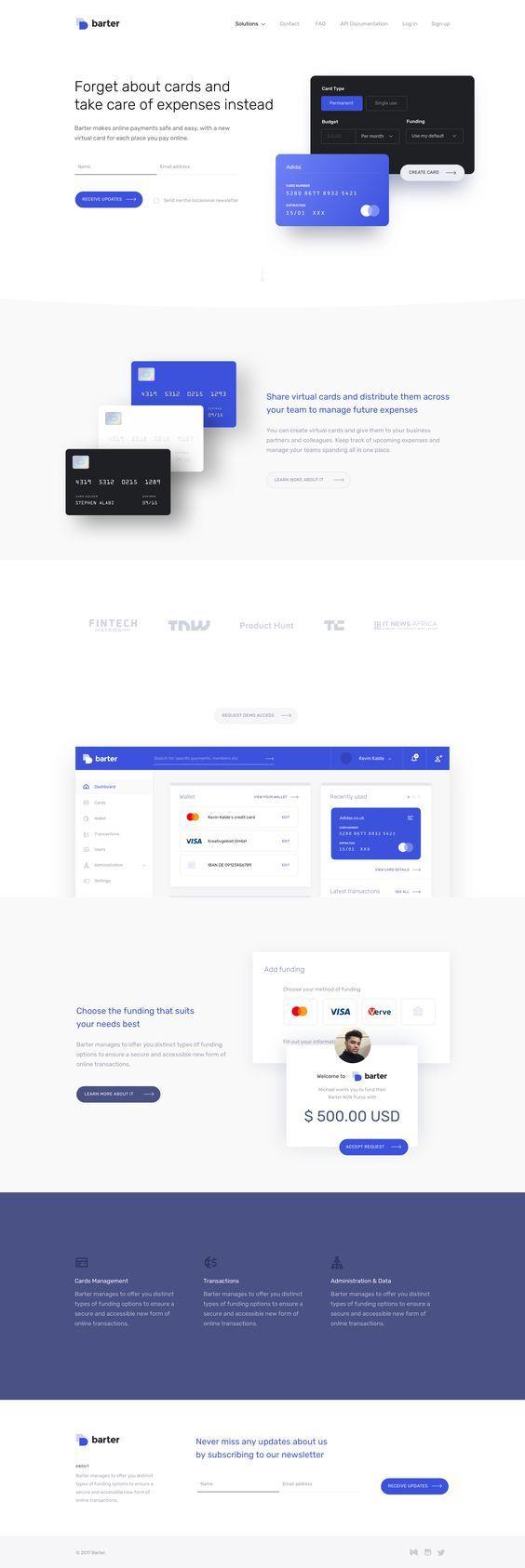 Credit Card Landing Page Web Layout Design Credit Card Design Web App Design