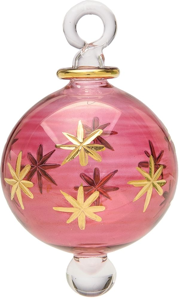 Ruby Red Egyptian Hand Blown Glass Ball Ornament Etched Star Design
