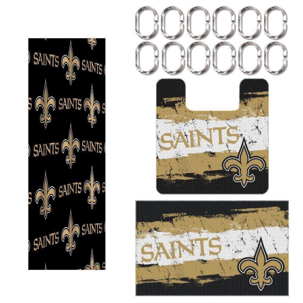 New Orleans Saints Nfl 15 Piece Rug Shower Curtain Bath Set