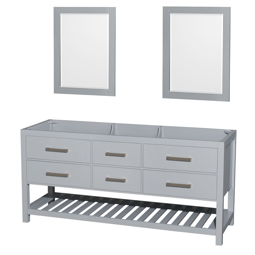Wyndham Collection Natalie 72-inch Gray Double Vanity 24-inch Mirrors