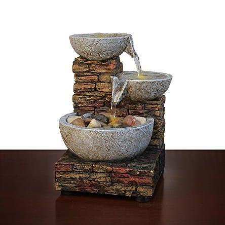 Essential Home Cascading Brick Bowl Led Fountain Kmart Com