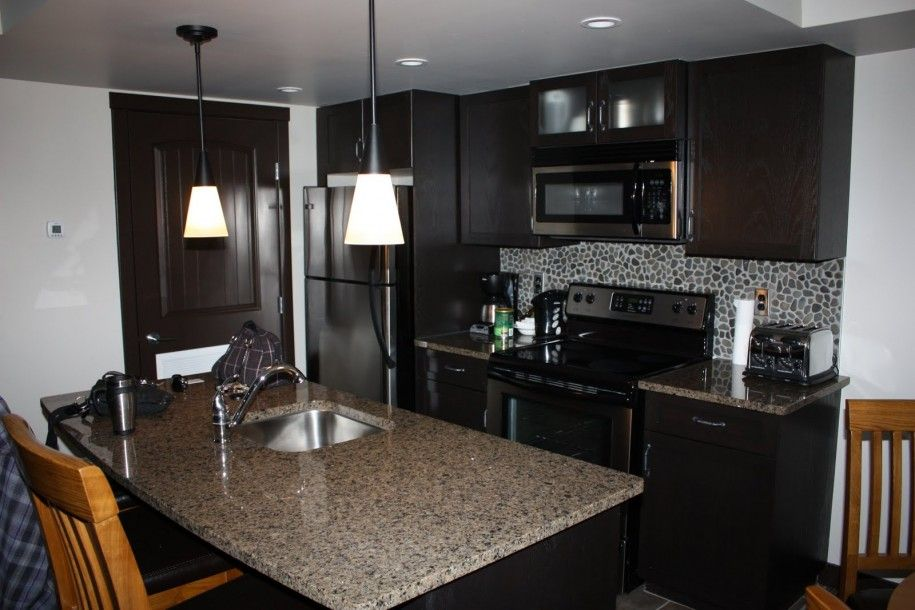 Condo Kitchen Designs For Modern Contemporary Grey Marble Brown Wooden Kitchen Counters Black