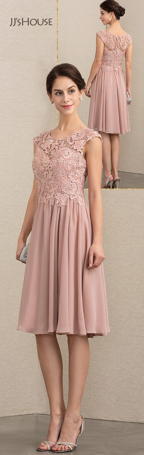 Us 148 00 A Line Scoop Neck Knee Length Chiffon Lace Mother Of The Bride Dress Jj S House Chiffon Lace Dresses Mother Of The Bride Dresses