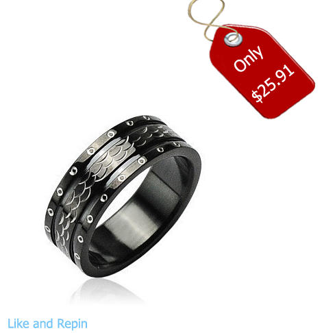 Black Dragon - Excellence in Style Black Stainless Steel Ring Armor-like Scales #BuyBlueSteel