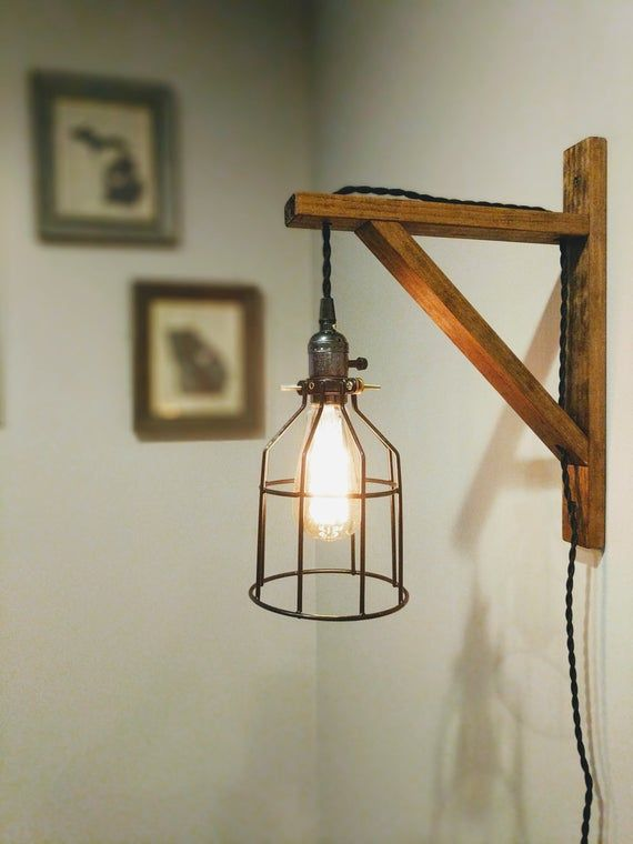 Wall Sconce | Pendant Light | Wall Lamp | Wood Wall Sconce | Rustic Lamp | Wooden Light | Modern | Industrial Decor | Hanging Light |